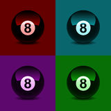 8 ball, colored abstract background. Vector illustration Royalty Free Stock Images