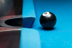 8 Ball Resting Near The Pocket Royalty Free Stock Images