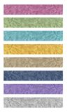 8 Banners of fabric. A set of creased fabric banner in eight color versions Royalty Free Stock Photos