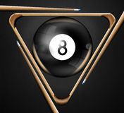 8 billiards pool games. Illustration with triangle, pool balls number 8, and three pool cues Stock Photos