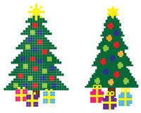 8-Bit Christmas. Hi-res 8-bit Christmas trees with stars and gift boxes Stock Photo