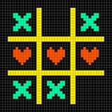 8-bit Pixel Art Tic Tac Toe With Kisses And Love Heart Symbols Stock Photos