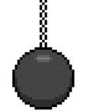8-bit Pixel Art Wrecking Ball On A Chain Stock Photo