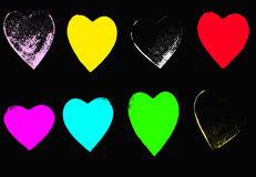 8 bright Grunge hearts. 8 brightly Coloured Grunge Hearts Royalty Free Stock Photo