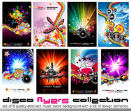 8 Colorful Background for Discoteque Flyers. Set of 8 Quality Colorful Background for Discoteque Event Flyers with music design elements Royalty Free Stock Photos