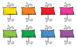 8 colorful easels. Cartoon illustration / left blank for your own message Royalty Free Illustration