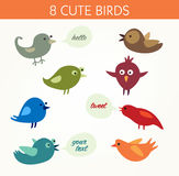 8 cute birds. Eight pictures of cheerful tweeting birds in various colors Stock Images
