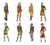8 different fashion models. Set of 8 watercoloured hand drawn fashion models Stock Images