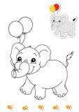8 djur book färgläggningelefanten royaltyfri illustrationer