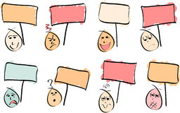 8 Doodle Faces with Signs. 8 doodle  faces with different expressions and sign boards. Vector Image Stock Photography