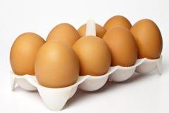 8 Eier in einem Paket Stockfotografie