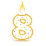 8 födelsedag stearinljus stock illustrationer