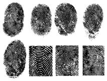 8 FingerPrints. 8 Black and White Vector Fingerprints - Very accurately scanned and traced ( Vector is transparent so it can be overlaid on other images, vectors Royalty Free Stock Photo