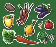 8 geplaatste groenten: aardappels, peper, aubergine, auto Royalty-vrije Stock Foto's