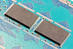 8 gigabytes memory modules SMD - SSD. 8 gigabytes memory modules SMD in the opened Single State Drives - SSD Royalty Free Stock Photo