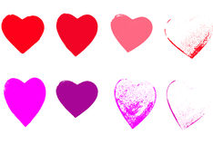 8 Grunge hearts. 8 Coloured Grunge Hearts in a white background Stock Photography