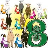 8 het Melken van dames stock illustratie