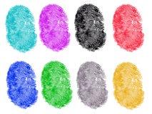 8 huellas digitales coloreadas Imagen de archivo libre de regalías
