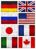 8 krajów brudzą chorągwianego wielkiego grunge g8 Zdjęcia Stock
