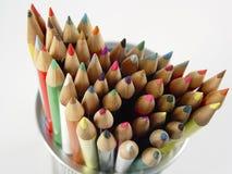 8 kulöra blyertspennor Arkivbilder