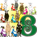 8 Ladies Milking. The 12 Days of Christmas, vector Illustration. There is one for each day, can be used as an educational flash card for counting stock illustration