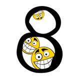8 lyckliga nummer för alfabet åtta Arkivbilder