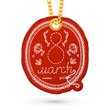 8 March element. Embroidery imitation. Label tag hanging on golden chain. Red design element on white. Vector illustration vector illustration