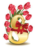 8 March Greetings Card With Tulips Royalty Free Stock Image