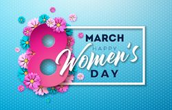 Free 8 March. Happy Womens Day Floral Greeting Card. International Holiday Illustration With Flower Design On Blue Background Royalty Free Stock Photo - 139724295
