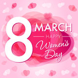 8 March Happy Womens day hearts card. 8 March Women`s Day greeting card template with vector pink hearts on background Royalty Free Stock Images