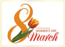 Free 8 March. International Happy Women`s Day. Design Template With Number 8 And Pink Beautiful Tulip Flower Holiday Stock Images - 109725484