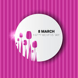 8 March International Women Day Greeting Card. Flat Vector Illustration Royalty Free Stock Image