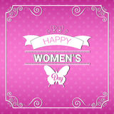 8 March International Women Day Greeting Card. Flat Vector Illustration Stock Illustration