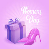 8 March International Women Day Greeting Card. Flat Vector Illustration Royalty Free Stock Photo