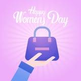 8 March International Women Day Greeting Card. Flat Vector Illustration stock illustration