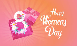 8 March International Women Day Greeting Card. Flat Vector Illustration Stock Photos
