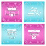 8 March International Women Day Greeting Card Set Stock Image