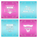 8 March International Women Day Greeting Card Set. Flat Vector Illustration Stock Image