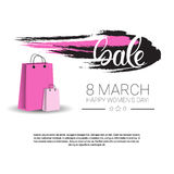 8 March International Women Day Sale Shopping Discount. Flat Vector Illustration Royalty Free Stock Photo