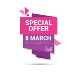 8 March International Women Day Sale Shopping Discount. Flat Vector Illustration Royalty Free Stock Photos