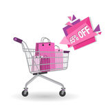 8 March International Women Day Sale Shopping Discount. Flat Vector Illustration Stock Image