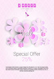 8 March International Women Day Sale Shopping Discount. Flat Vector Illustration Royalty Free Stock Image