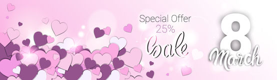 8 March International Women Day Sale Shopping Discount. Flat Vector Illustration Stock Images