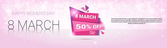 8 March International Women Day Sale Shopping Discount. Flat Vector Illustration Stock Photo