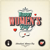 8 march womans day with vintage stly. 8 march womans day with with retro vintage styled design stock illustration