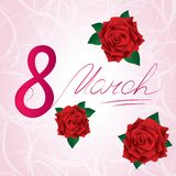 8 march Women's Day card with red lush roses. Handwritten text. Pink background with lines royalty free illustration