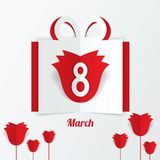 8 March Women's Day paper gift box with red roses Royalty Free Stock Images