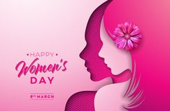 Free 8 March. Womens Day Greeting Card Design With Young Woman Silhouette And Flower. International Female Holiday Royalty Free Stock Photography - 139485367