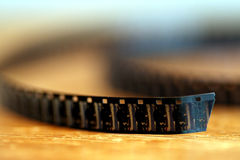 8 mm Film twist. On a table stock photos