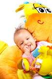 8 months old baby stock photo